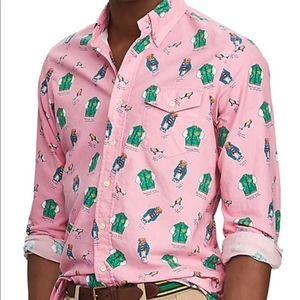 Ralph Lauren Button Down Bears on Campus Pink XXL